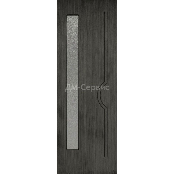 Шпонированная дверь Молния со стеклом (серебристый дуб)