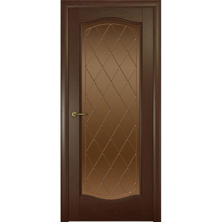 Дверь с натуральным шпоном «Аврора Ромб бронза» (со стеклом)