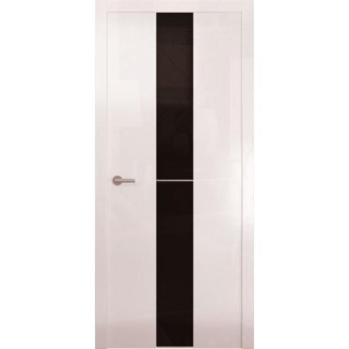 Межкомнатная глянцевая дверь «Avorio-4 Черное» (со стеклом)