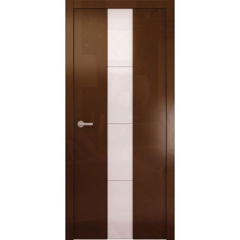 Межкомнатная глянцевая дверь «Avorio-5 Белое» (со стеклом)