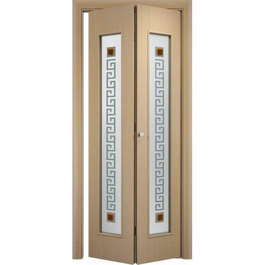 Складная дверь «книжка» C-17 Ф Квадрат (со стеклом)