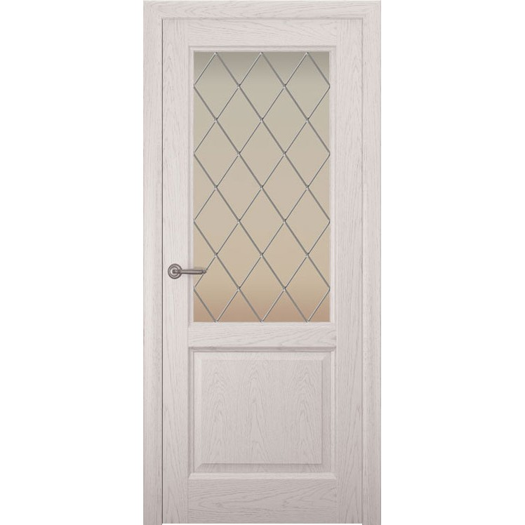 Дверь с натуральным шпоном «Парма Ромб белый» (со стеклом)