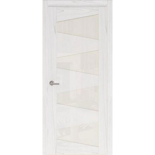 Межкомнатная шпонированная дверь «Rona-2 Белая» (со стеклом)
