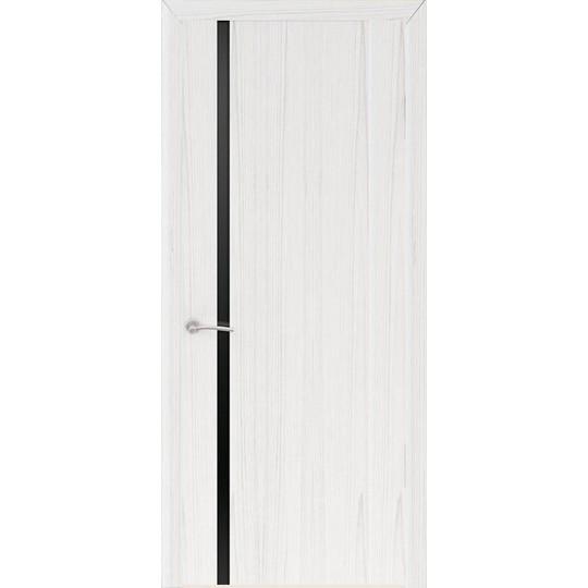 Межкомнатная шпонированная дверь «Шторм-1 Черный» (со стеклом)