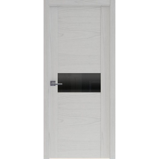 Межкомнатная шпонированная дверь «Rona-3 Черная» (со стеклом)