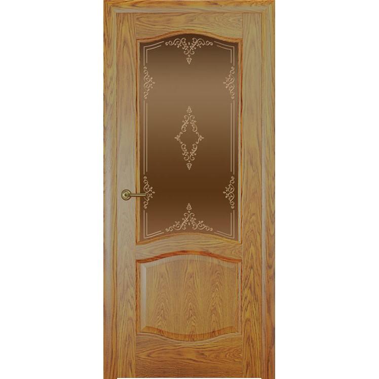 Дверь с натуральным шпоном «София Ажур бронза» (со стеклом)
