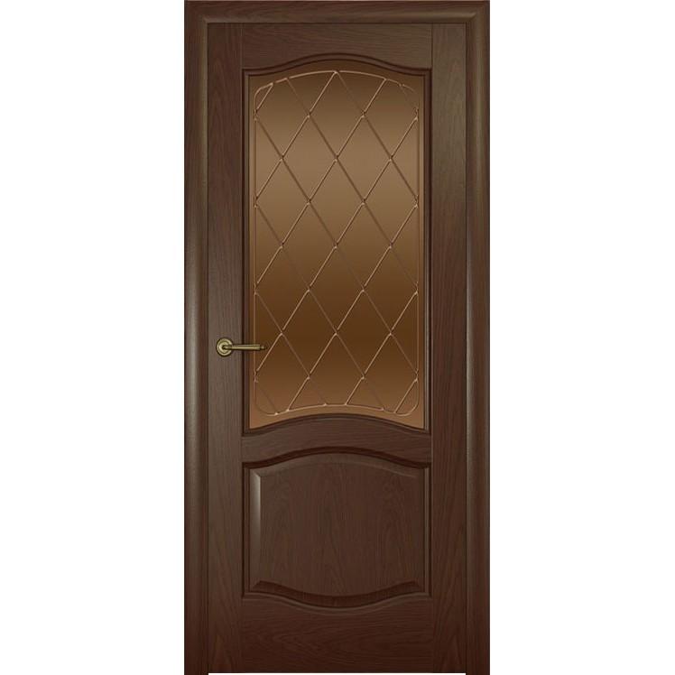 Дверь с натуральным шпоном «София Ромб бронза» (со стеклом)