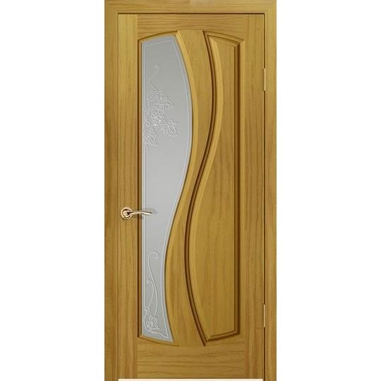 Дверь с натуральным шпоном «Шарм Белый» (со стеклом)