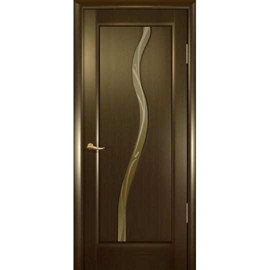Межкомнатная шпонированная дверь «Новая волна (Z) Бронза» (со стеклом)