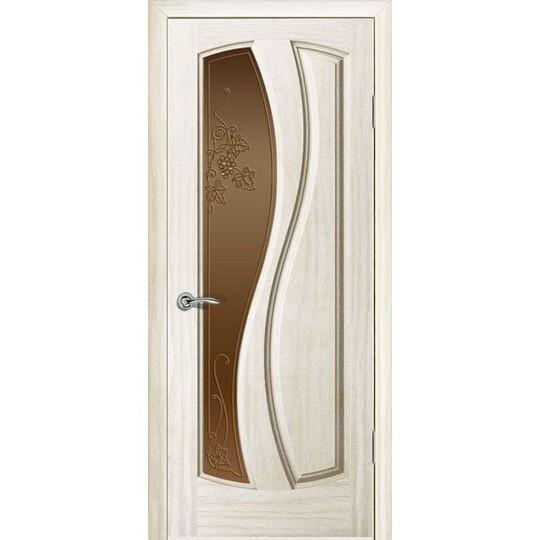 Дверь с натуральным шпоном «Шарм Бронза» (со стеклом)