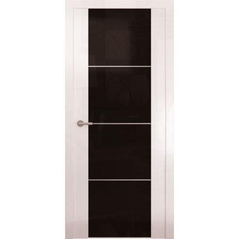 Межкомнатная глянцевая дверь «Avorio-2 Черное» (со стеклом)