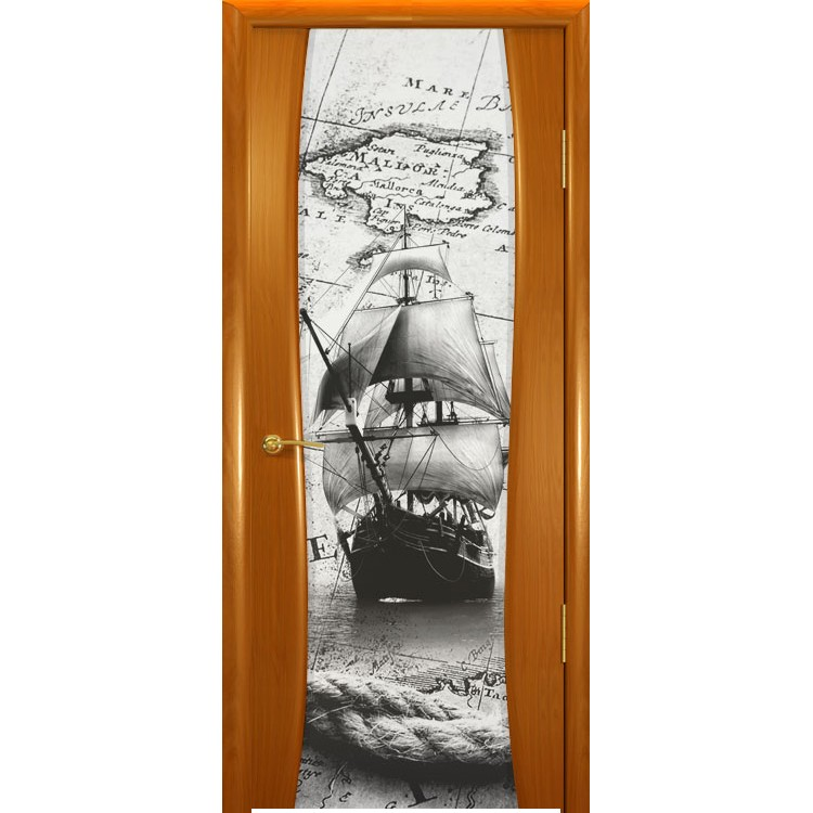 Межкомнатная шпонированная дверь «Буревестник-2 Бриг» (со стеклом)