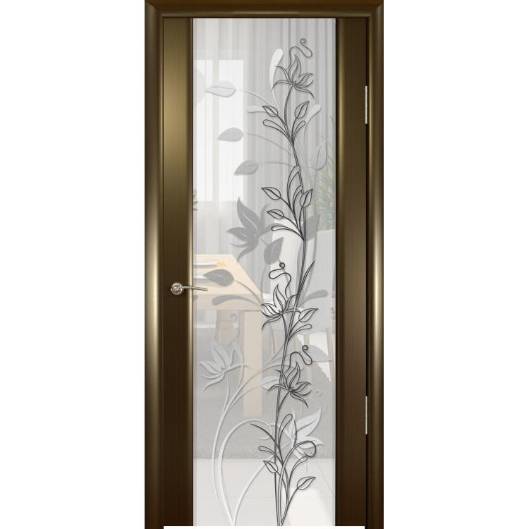 Межкомнатная шпонированная дверь «Шторм-3 Растение-2» (со стеклом)