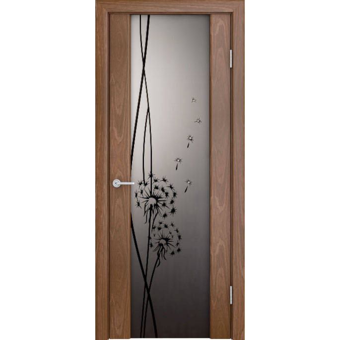 Шпонированная дверь Кристалл со стеклом триплекс, орех