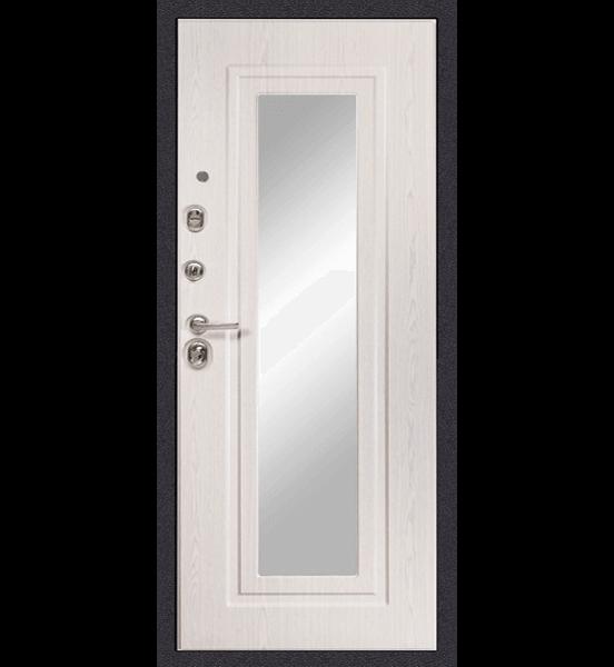 Входная металлическая дверь «МД-26» с зеркалом (беленый дуб)