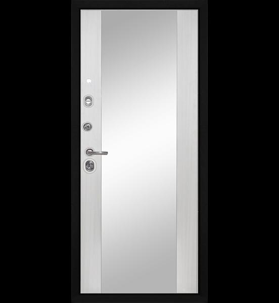 Входная металлическая дверь «МД-30» с зеркалом (беленый дуб)