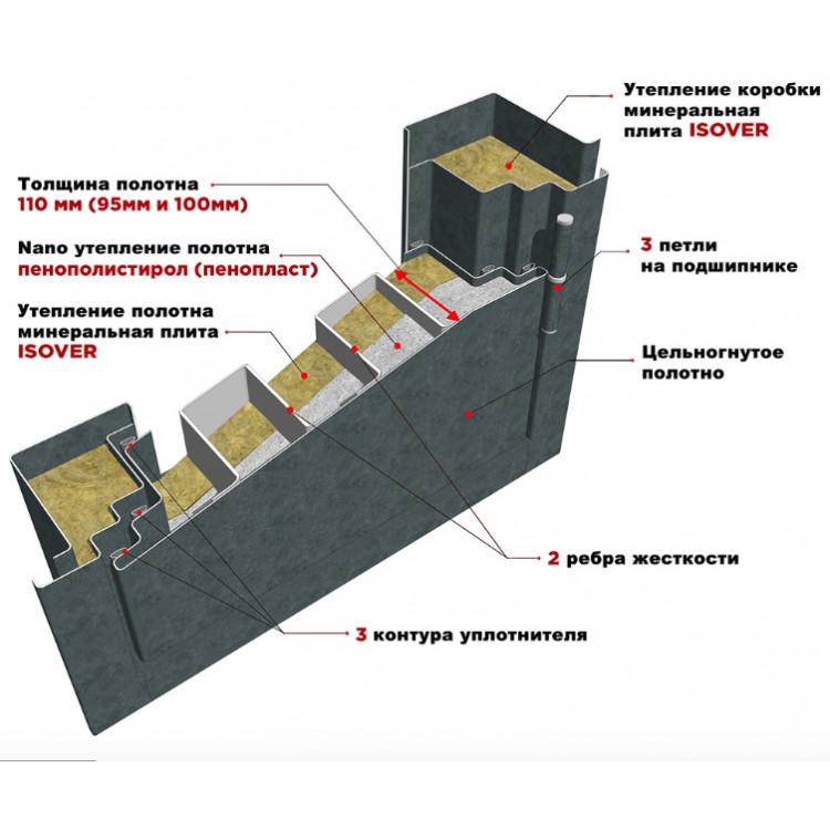 """Входная металлическая дверь """"МД 48"""" бетон тёмный/бетон светлый"""