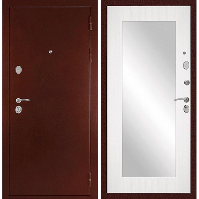 Входная металлическая дверь «C-503» с зеркалом (сандал белый)