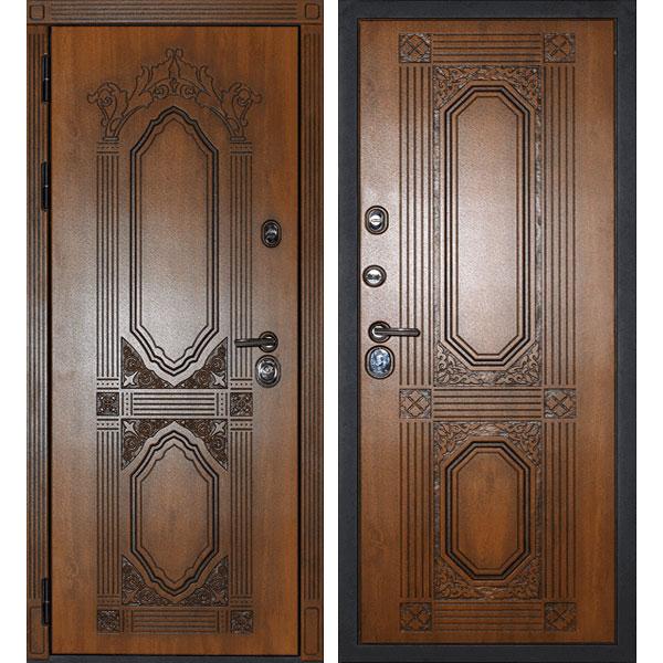 Уличная металлическая дверь «Париж» (золотистый дуб)