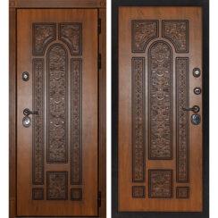 Уличная металлическая дверь «Рим» (золотистый дуб)