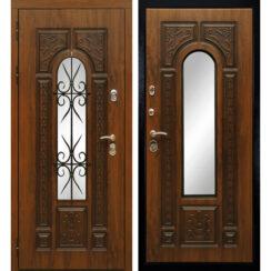 Уличная металлическая дверь «Рим» с ковкой (золотистый дуб)