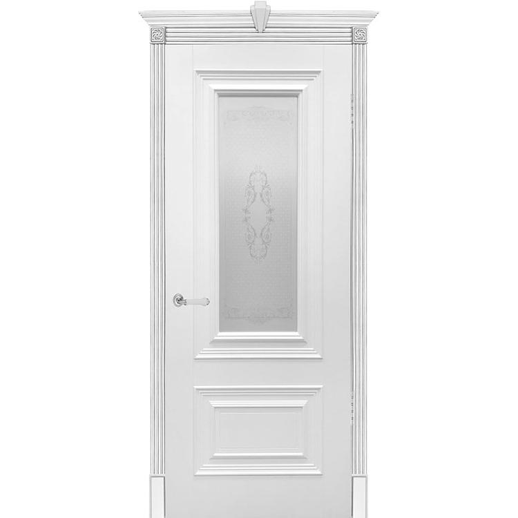 Межкомнатная дверь эмаль классика патино «Бергамо» (со стеклом)