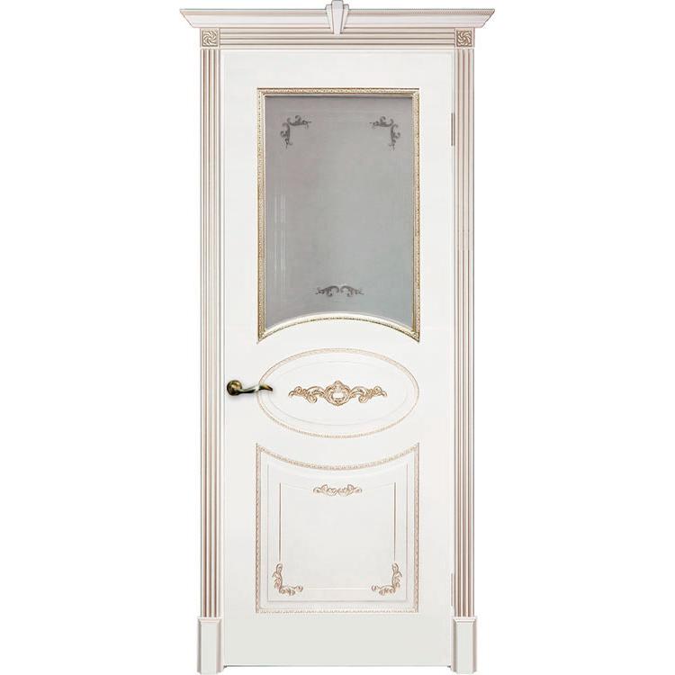 Межкомнатная дверь эмаль классика патина «Камелия» (со стеклом)