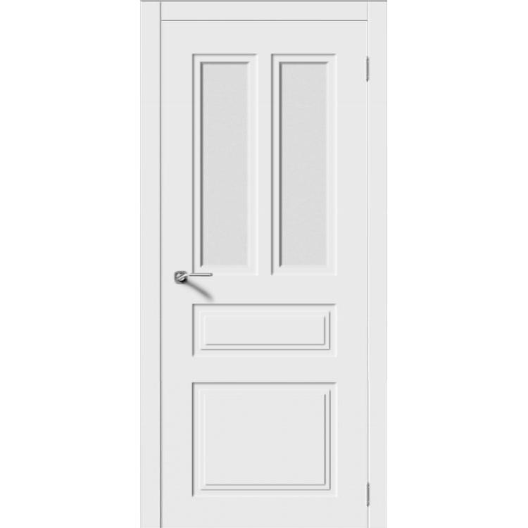 Межкомнатная дверь эмаль неоклассика «Квадро-5» (со стеклом)