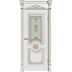 Межкомнатная дверь эмаль классика патина «Олимп» (со стеклом)