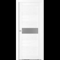 """Межкомнатная дверь экошпон """"Велюкс 02 Ясень сноу"""" (стекло Сатинато графит)"""