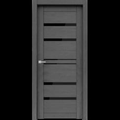 """Межкомнатная дверь экошпон """"Велюкс 01 Ясень грей"""" (стекло Лакобель чёрное)"""