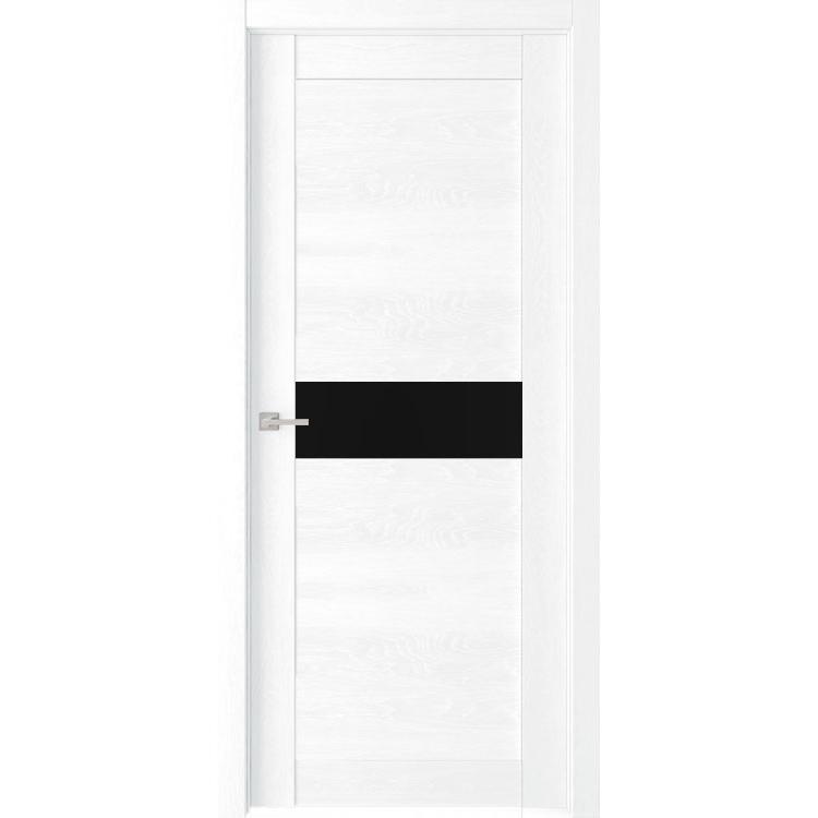 """Межкомнатная дверь экошпон """"Велюкс 02 Ясень сноу"""" (стекло Лакобель чёрное)"""
