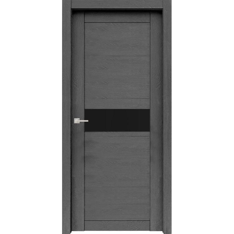 """Межкомнатная дверь экошпон """"Велюкс 02 Ясень грей"""" (стекло Лакобель чёрное)"""