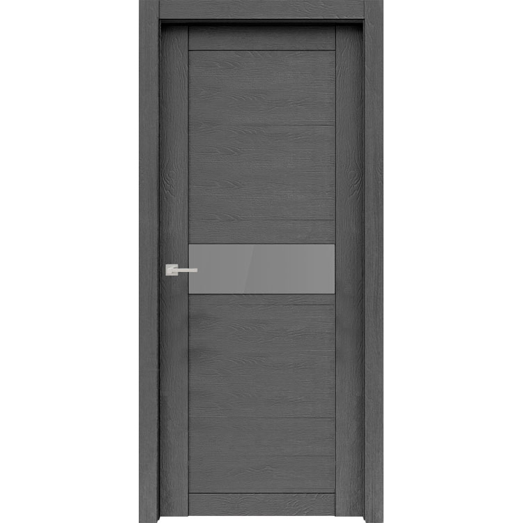 """Межкомнатная дверь экошпон """"Велюкс 02 Ясень грей"""" (стекло Сатинато графит)"""