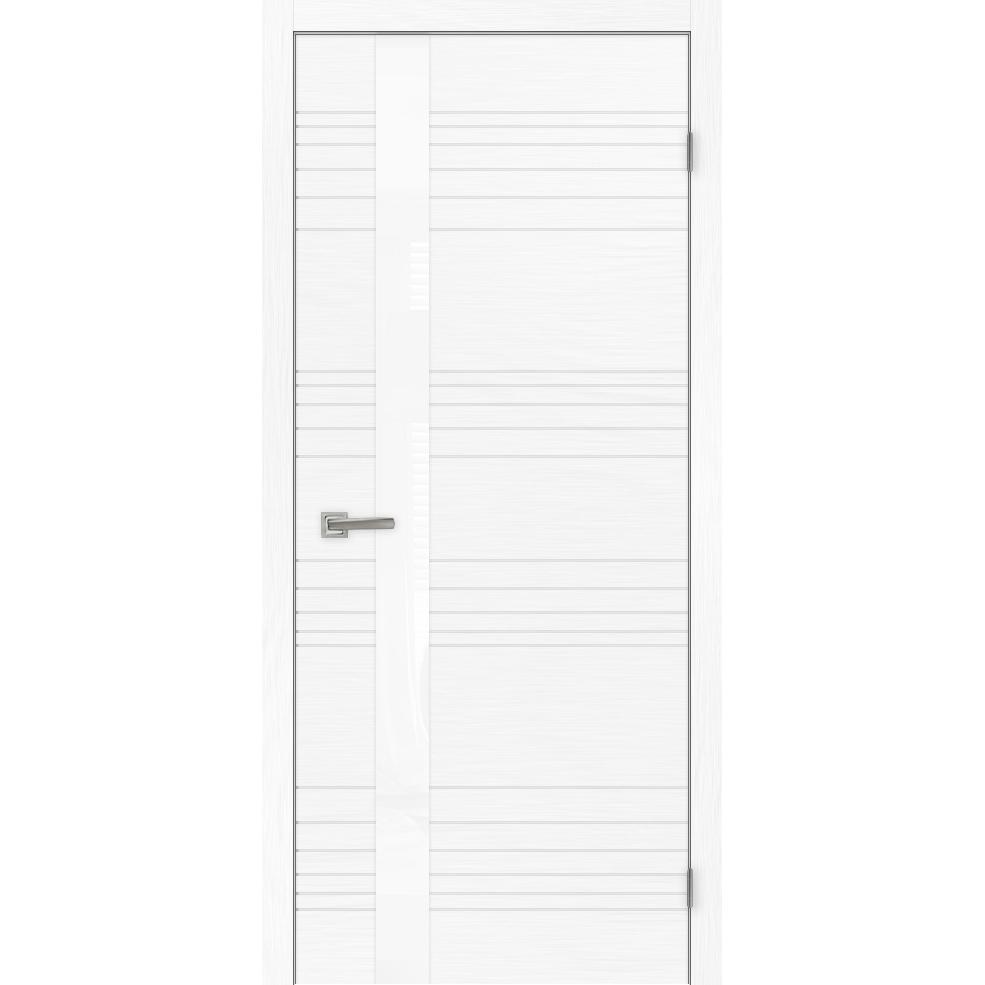 Межкомнатная дверь «Сити 1» натуральный шпон (стекло белое)