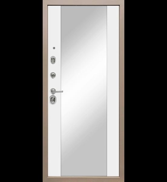 Входная металлическая дверь «МД-50» с зеркалом (белый софт)