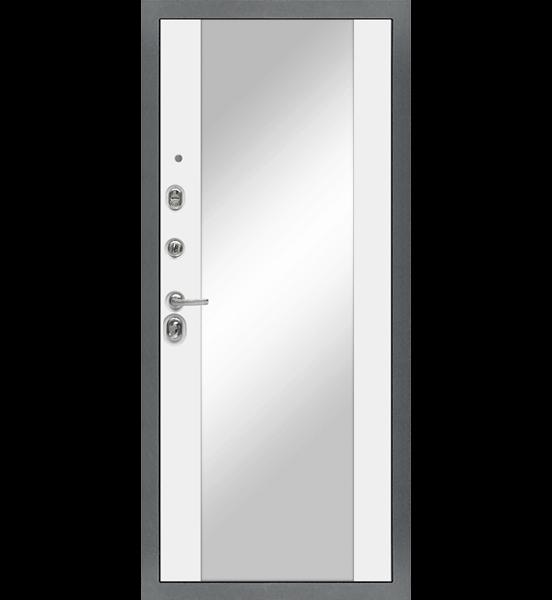 Входная металлическая дверь «МД-48» с зеркалом (белый софт)