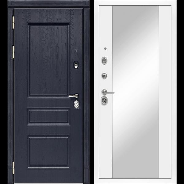 Входная металлическая дверь «МД-45» с зеркалом (белая матовая)