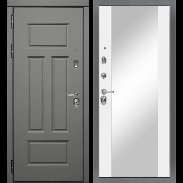 Входная металлическая дверь «МД-47» с зеркалом (белый софт)