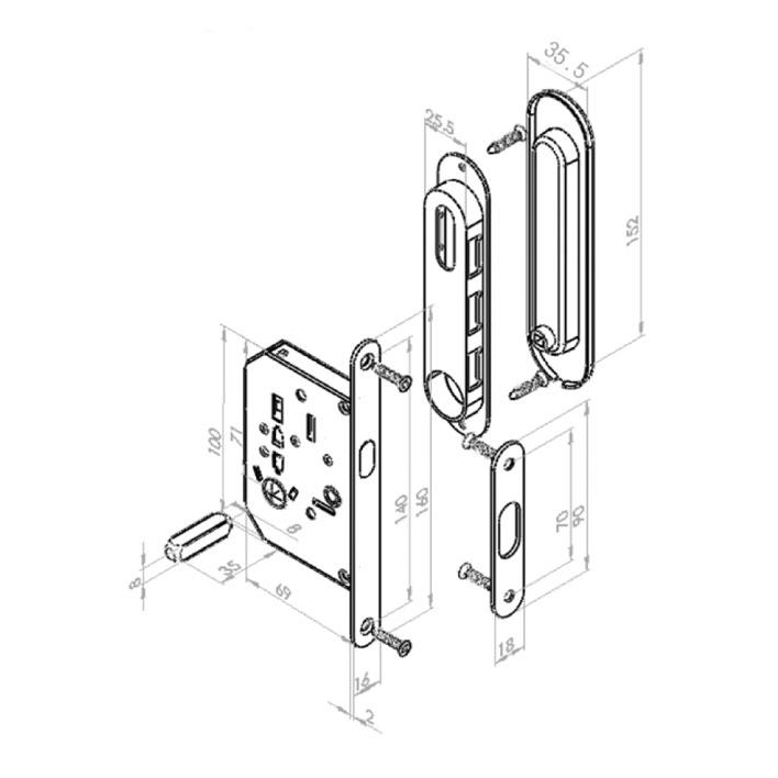 """Дверная ручка """"INSDH-BK 501"""" для раздвижных дверей с замком TIXX"""