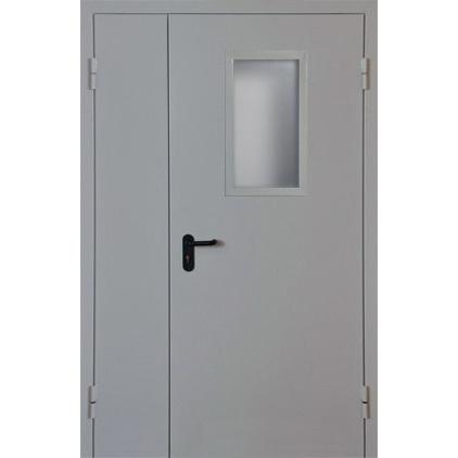 Металлическая противопожарная дверь остекленная 60 минут ДПМО-60-02