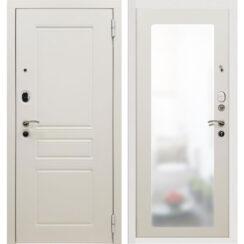 Металлическая входная дверь SD Prof-10 Троя белая большое зеркало