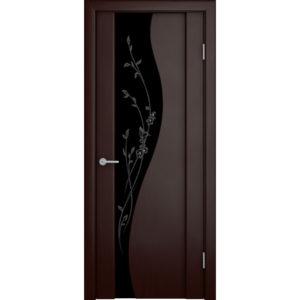 Шпонированная дверь Ирис со стеклом триплекс, венге